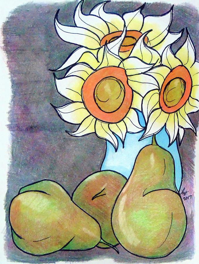 Sunflowers Drawing - Sunflowers And Pears by Loretta Nash