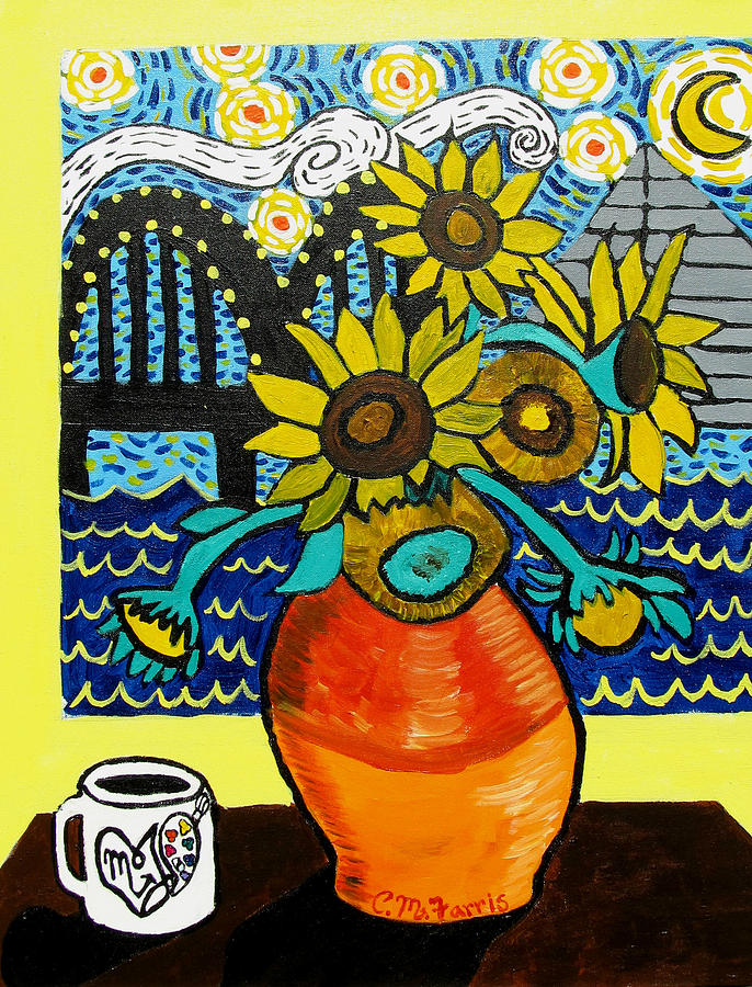 Memphis Bridge Painting - Sunflowers And Starry Memphis Nights by Christopher Farris