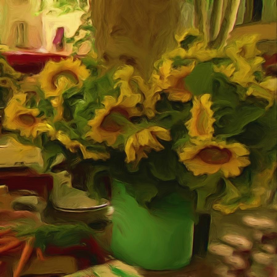 Farmers Market Painting - Sunflowers At The Market by Shelley Bain