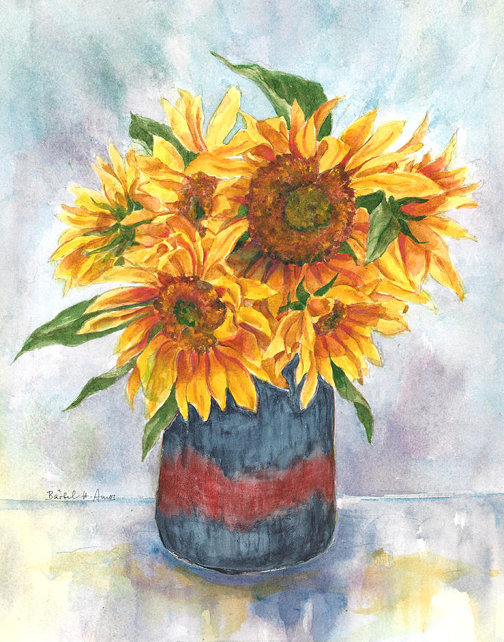 Sunflowers painting by barbel amos for Barbel art