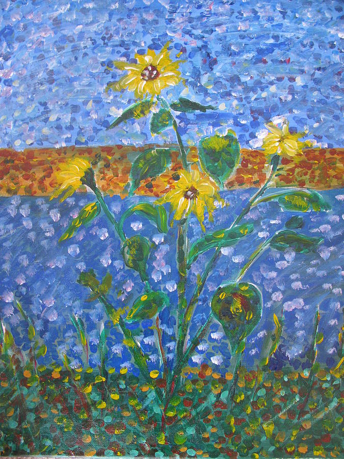 Sunflower Painting - Sunflowers Bursting by Dennis Poyant