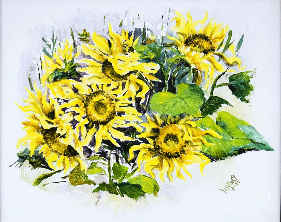 Nature Painting - Sunflowers by Elisabeta Hermann