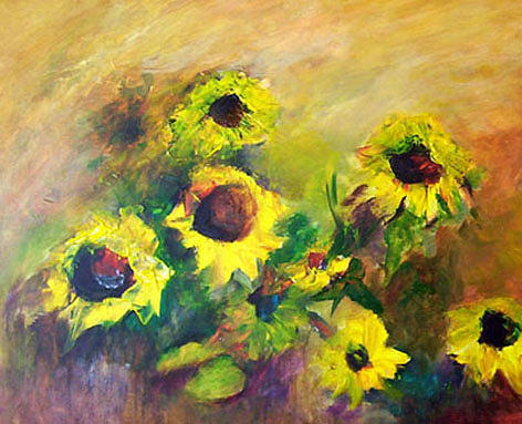 Flowers Painting - Sunflowers by Gilberte Vermeulen