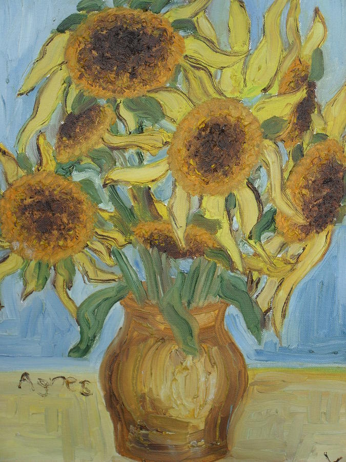 Flowers Painting - Sunflowers II. by Agnes V