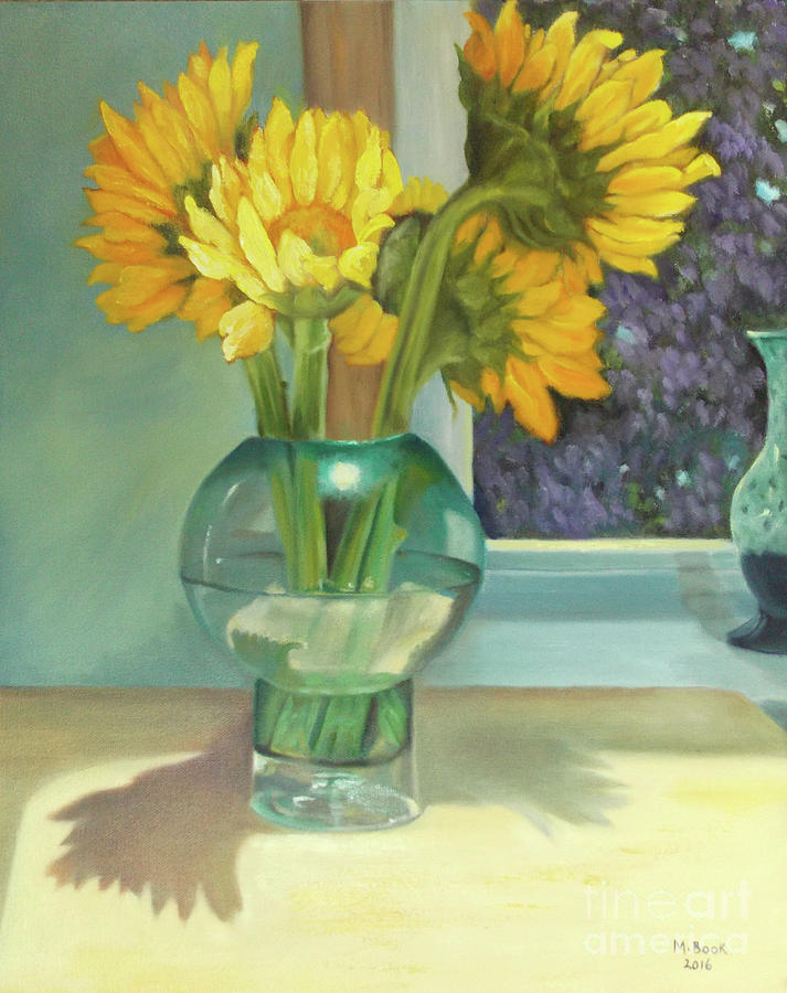 Sunflowers In A Glass Vase Number Three Painting By Marlene Book