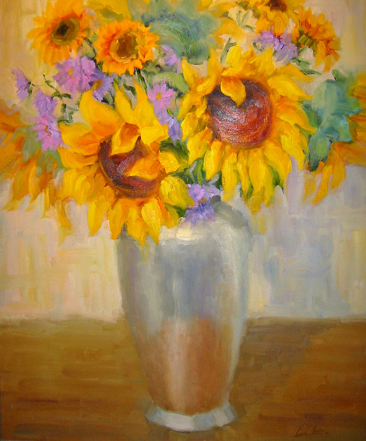 Sunflowers Painting - Sunflowers In A Silver Vase by Bunny Oliver