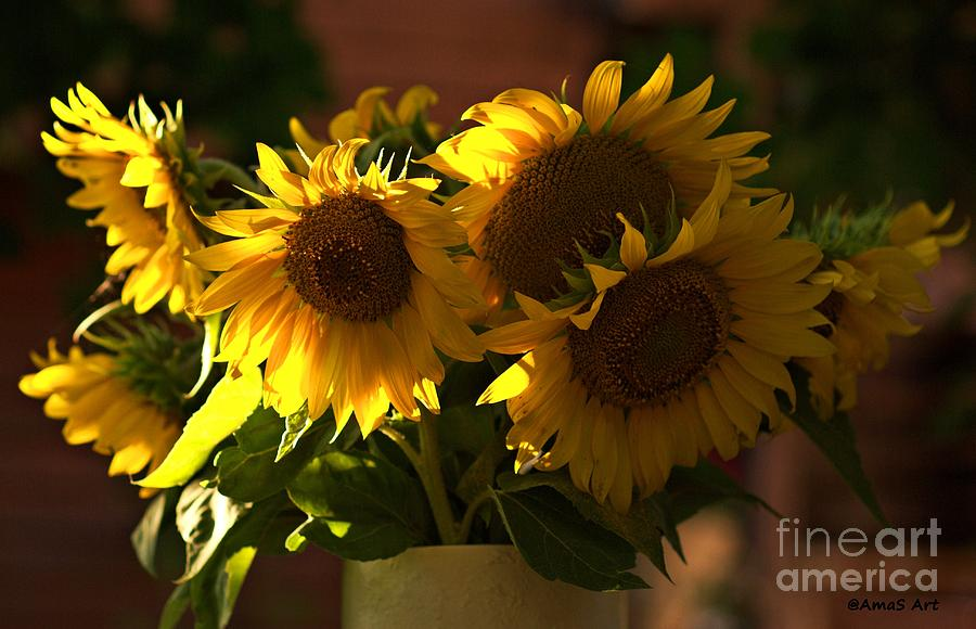 Sunflowers Photograph - Sunflowers In A Vase by Amalia Suruceanu