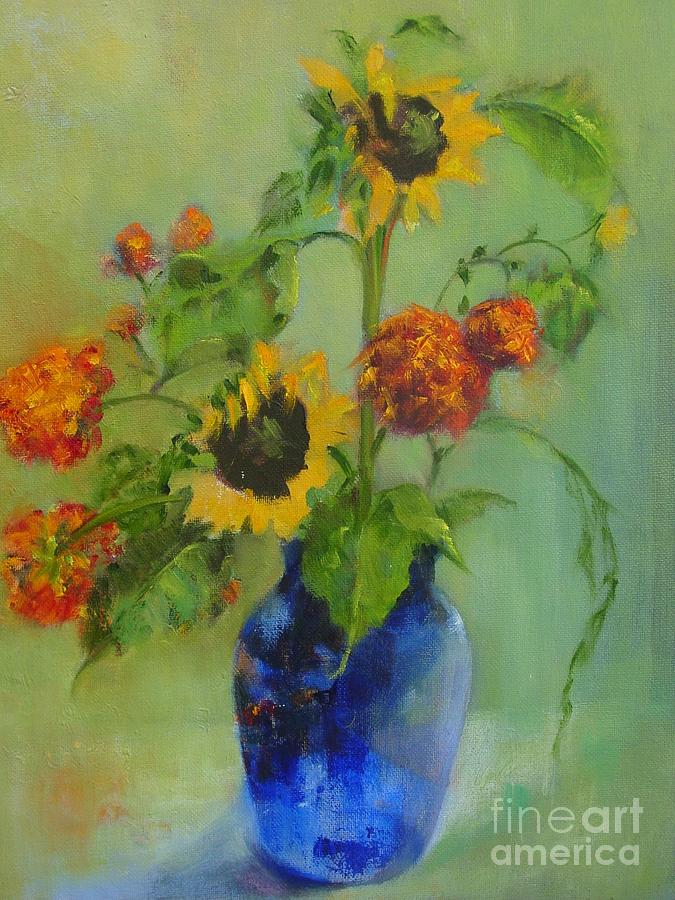 Contemporary Floral Painting - Sunflowers In Blue          Copyrighted by Kathleen Hoekstra