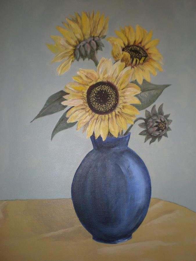 Floral Painting - Sunflowers In Blue Vase by Kathy Castro