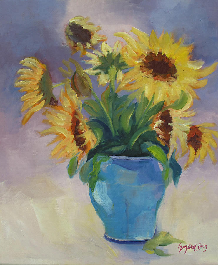 Sunflowers In Blue Vase Painting By Suzanne Cerny