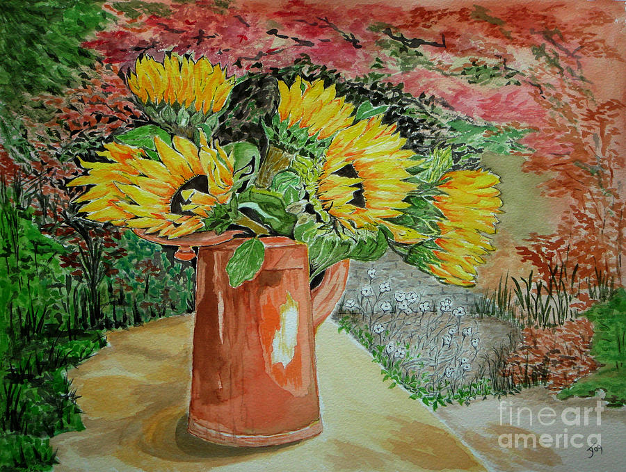 Garden Painting - Sunflowers In Copper by Yvonne Johnstone