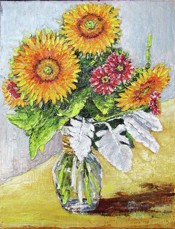 Oil Painting Painting - Sunflowers In Glass Vase by Thomas Michael Meddaugh