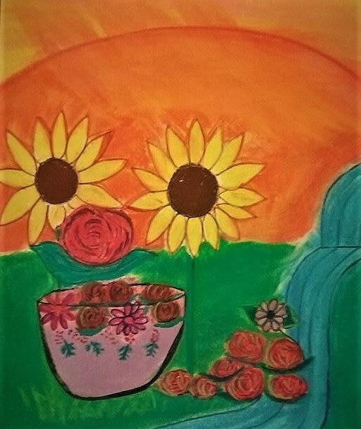 Sunflowers Pastel - Sunflowers in nature by Lynette Fekete