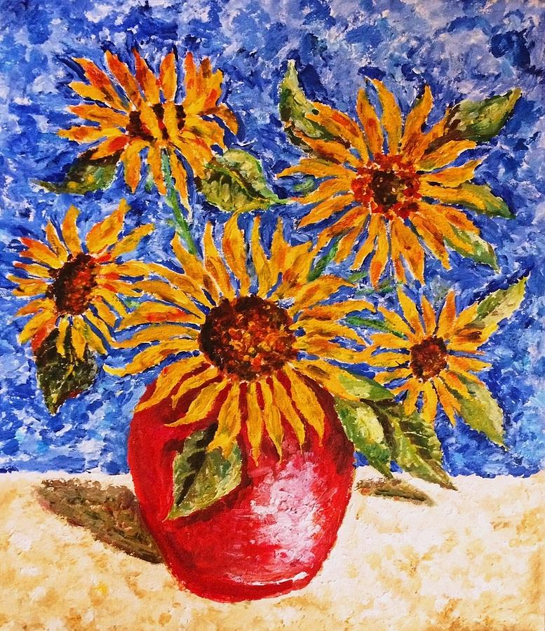 Bouquet Painting - Sunflowers In Red Vase. by Janremi B