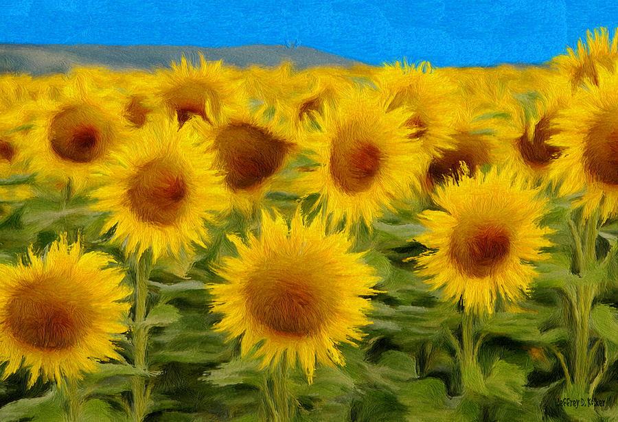 Sunflower Painting - Sunflowers In The Field by Jeffrey Kolker