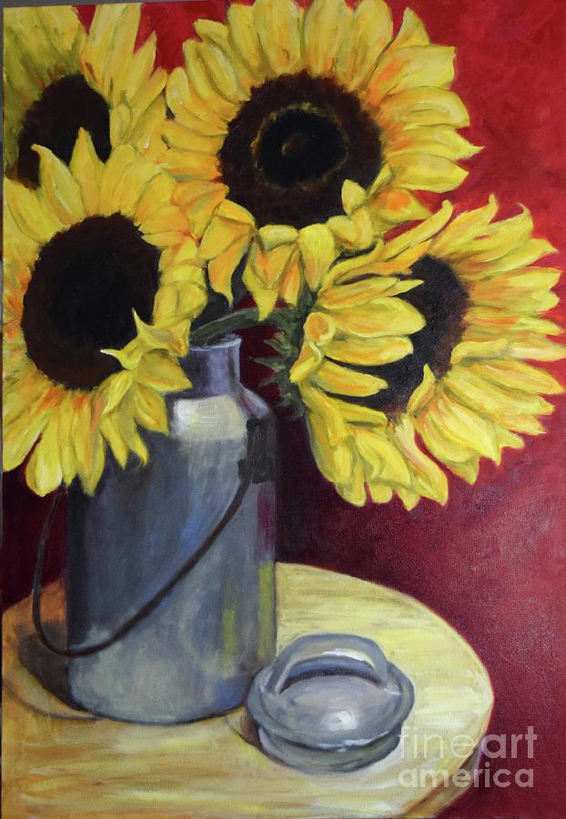 Sunflowers in Tin Milkcan by Sandra Nardone
