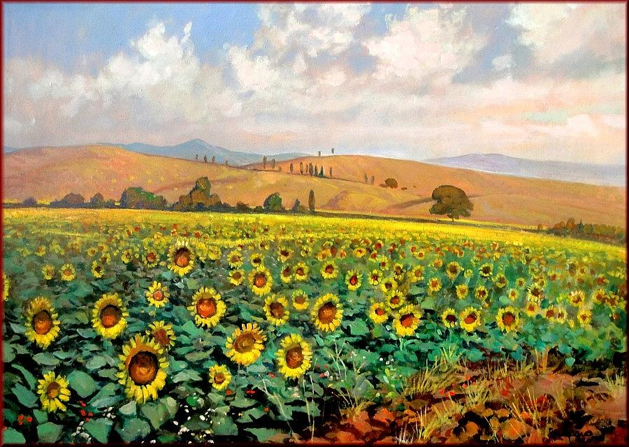 Q  Painting - Sunflowers In Tuscany by Giacomo Vaccaro