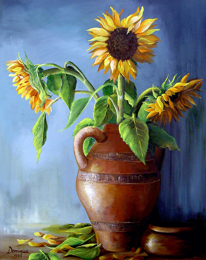 Sunflowers In Vase Painting By Dominica Alcantara
