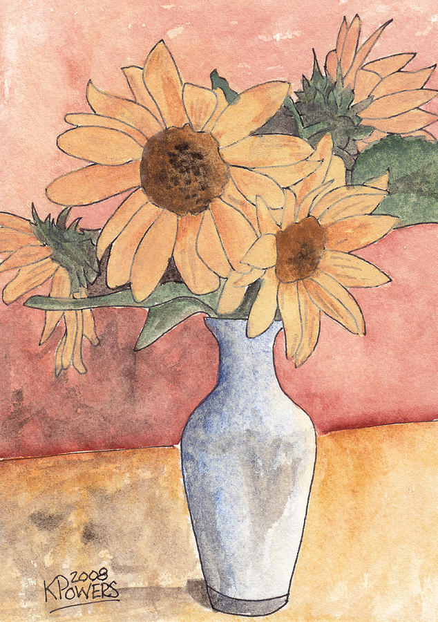 Sunflower Painting - Sunflowers In Vase Sketch by Ken Powers