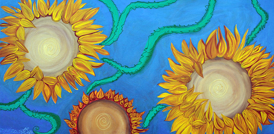 Abstract Painting - Sunflowers by Laura Barbosa