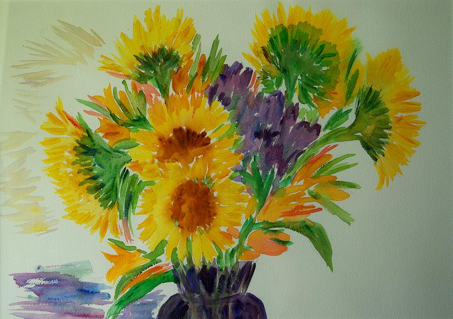 Flowers Painting - Sunflowers by Liliana Andrei