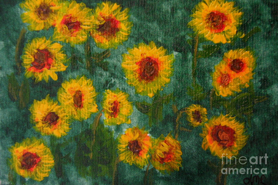 Acrylic Painting - Sunflowers by Lynne Reichhart