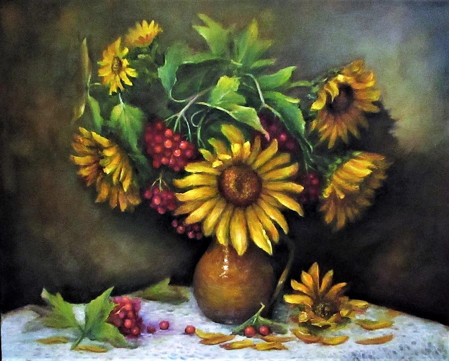 Berries Painting - Sunflowers oil canvas painting  by Natalja Picugina
