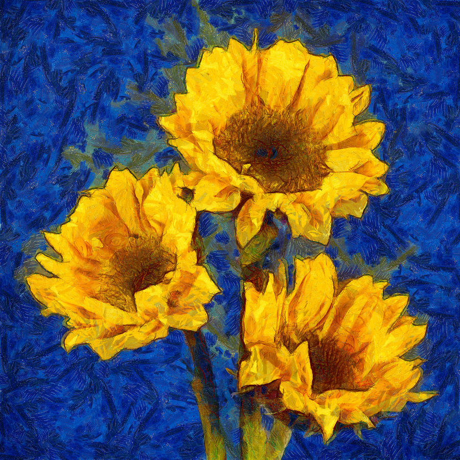 Sunflowers on Blue - Van Gogh Style by Betty Denise