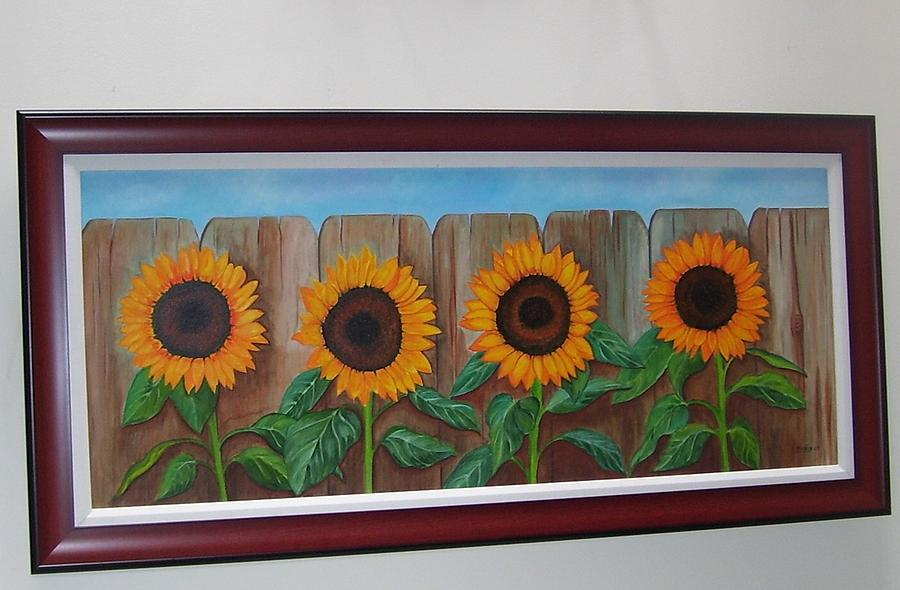 Sunflowers On Fence Painting by Rafael Marin
