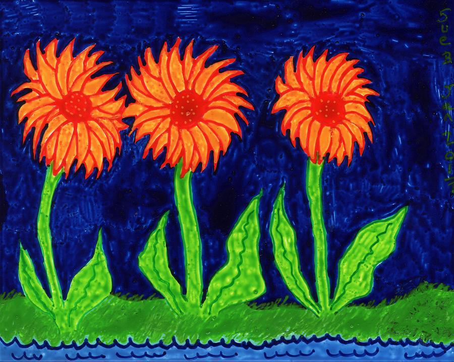 Sunflowers Painting - Sunflowers on Indigo by Sushila Burgess