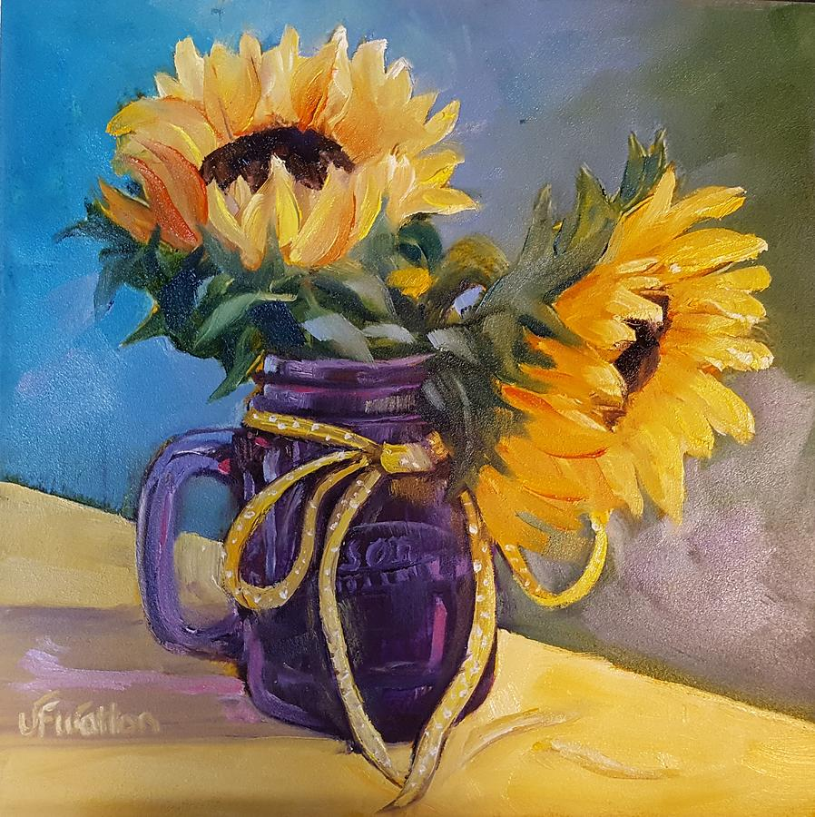 Sunflowers/ purple mug by Judy Fischer Walton