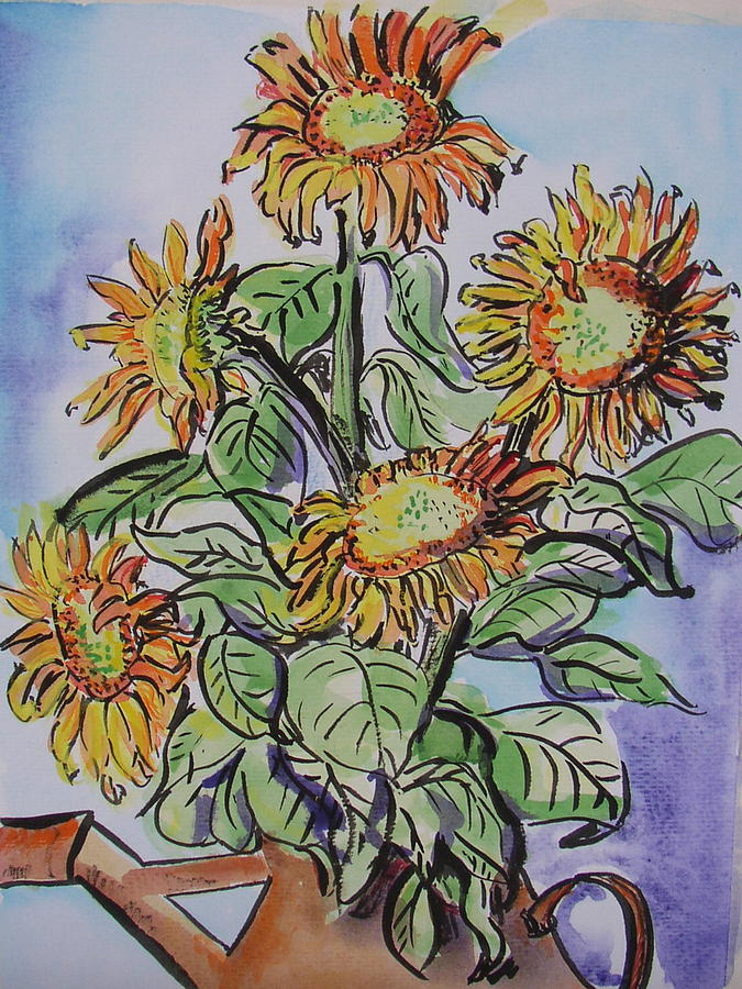 Sunflower Painting - Sunflowers by Sarah Hoddy