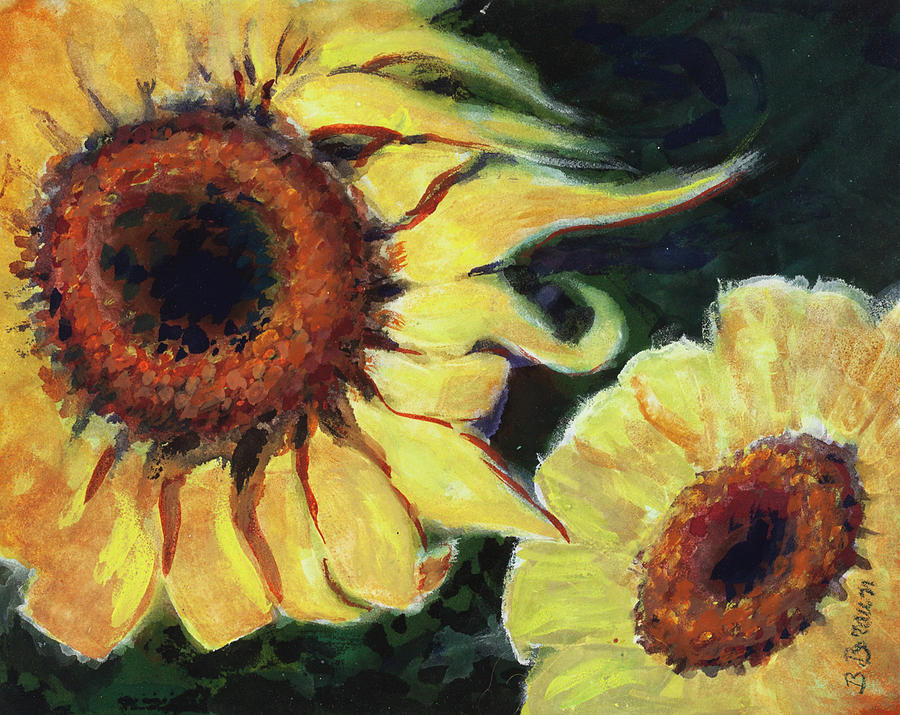 Flowers Painting - Sunflowers Study 1 by Beverly H Braun