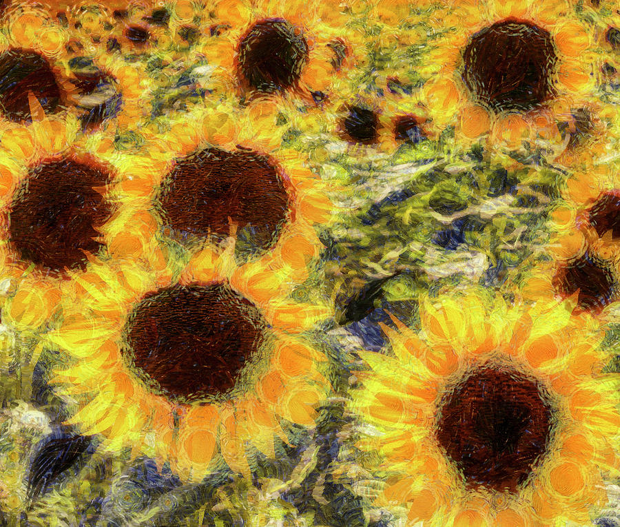 Abstract Sunflower Mixed Media - Sunflowers Summer Van Gogh by David Pyatt