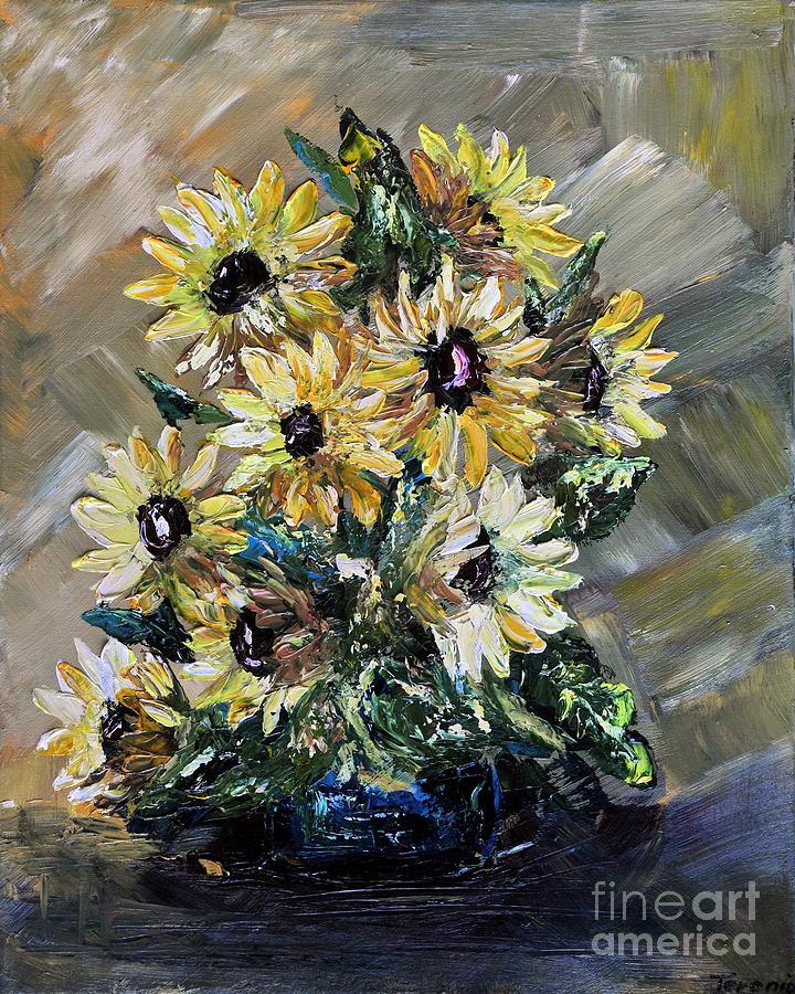 Acrylic Painting - Sunflowers by Teresa Wegrzyn