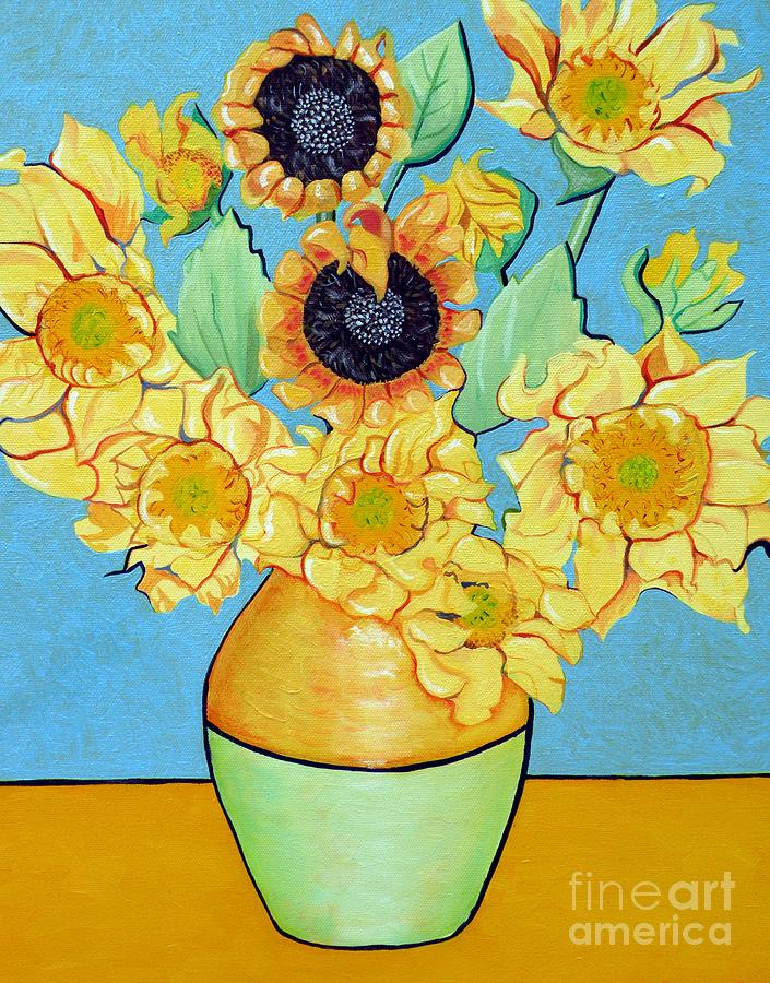 Sunflower Painting - Sunflowers Tribute To Vincent Van Gogh II by Christine Belt