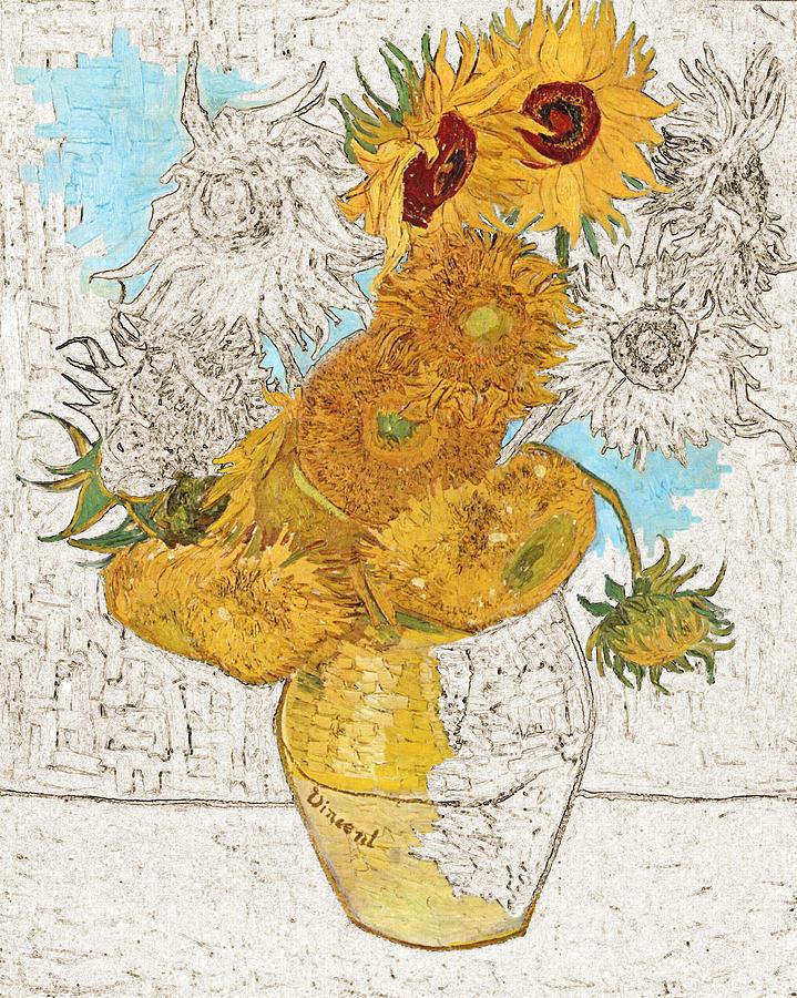 Van Gogh Digital Art - Sunflowers Van Gogh Digital Art by Karla Beatty
