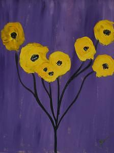 Sunflowers With Purple Painting by Jodi Drinkwater