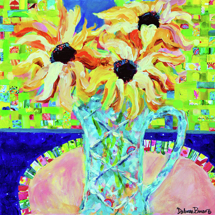Sunflowers Painting - Sunflowers With Trellis Collage by Deborah Burow