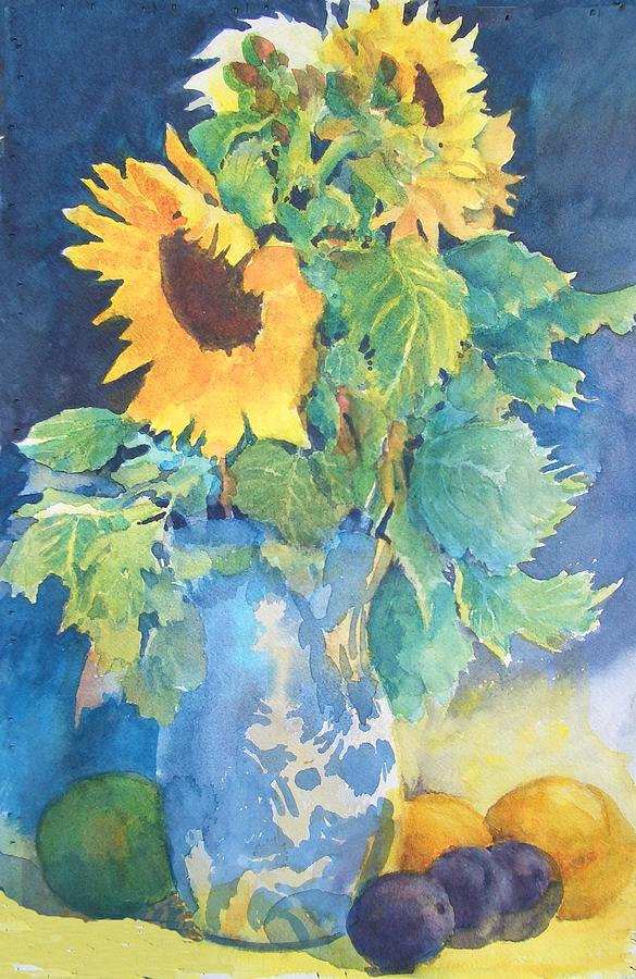 Floral Painting - Sunflowr in Blue Vase with oranges and plums by Carol Hama Chang