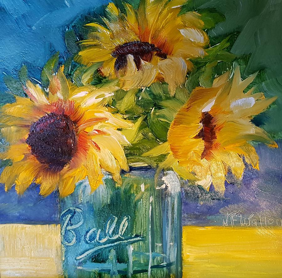 Sunfowers/Blue Ball jar by Judy Fischer Walton