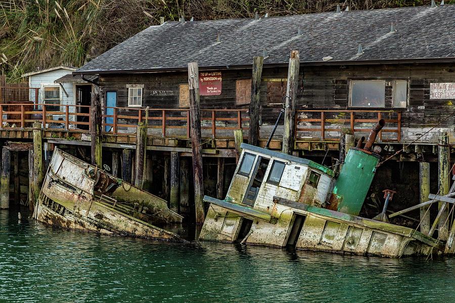 Sunken Boat In Noyo Harbor Photograph