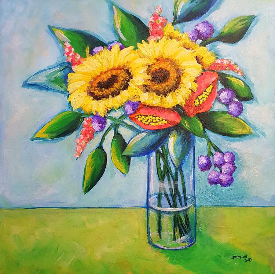Sunflowers Painting - Sunkissed by Sandra Lett