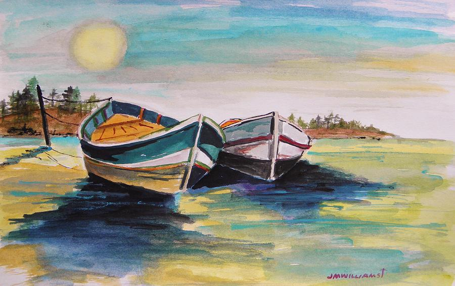 Boats Painting - Sunlight On Flat Water by John Williams