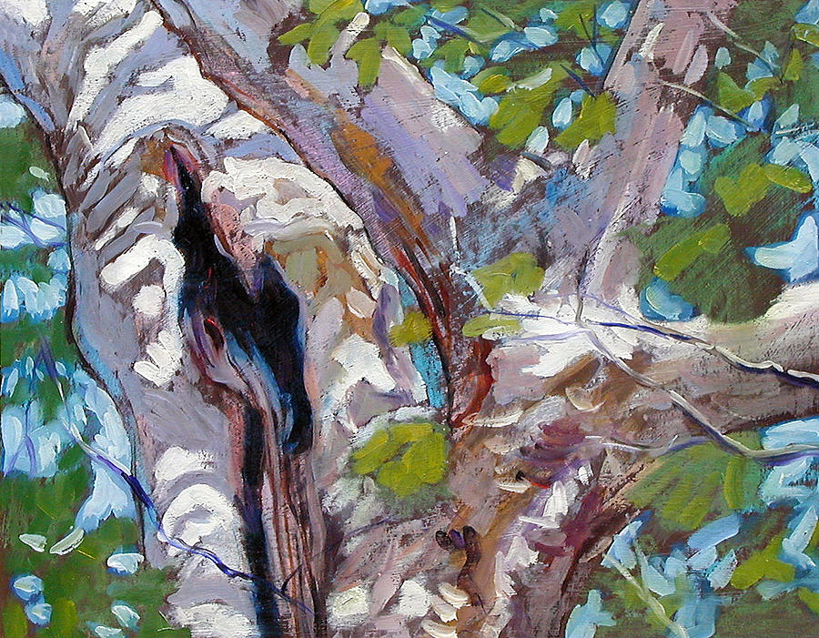 Tree Painting - Sunlight on Sycamore by John Lautermilch