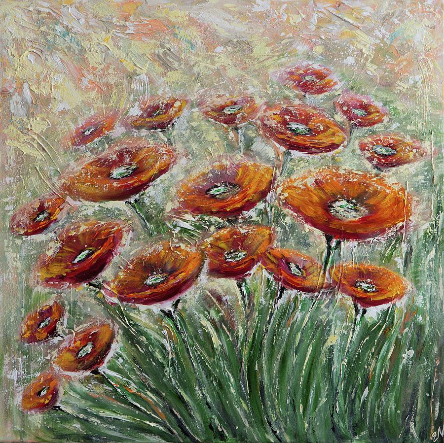 Poppies Painting - Sunlight Poppies by Elena Nesterenko