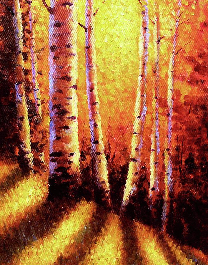 Sunlight Painting - Sunlight Through The Aspens by David G Paul