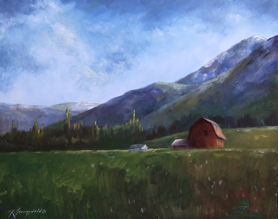 Barn Painting - Sunlit Barn by Ruth Stromswold
