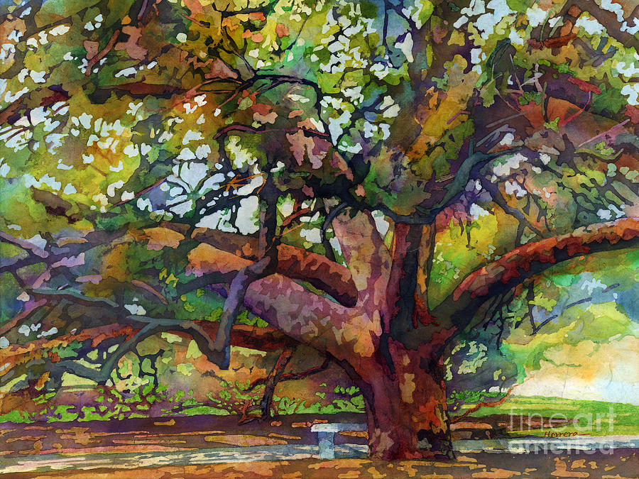 Oak Painting - Sunlit Century Tree by Hailey E Herrera