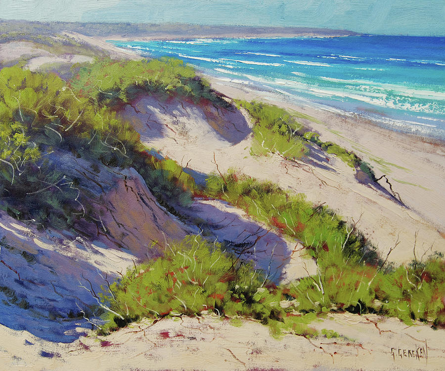 Beach Scene Painting - Sunlit Dunes Norah Head  Nsw Australia by Graham Gercken